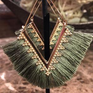 Army Green Tassel Earrings